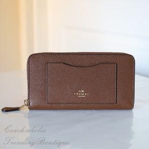Coach Accordion Leather Zip Around Wallet